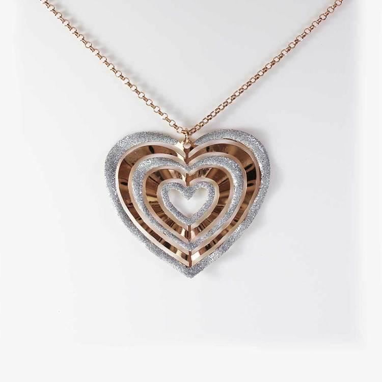 "Halsband ""Bohemian Chic"" i roséförgyllt 925 silver - 85 cm"