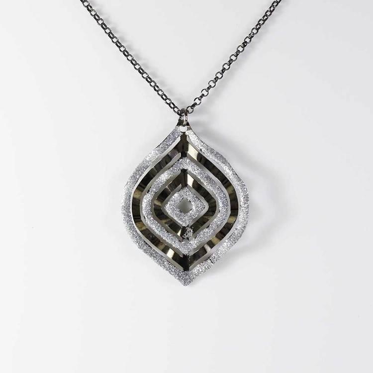 "Halsband ""Bohemian Chic"" Black 925 silver - 85 cm"