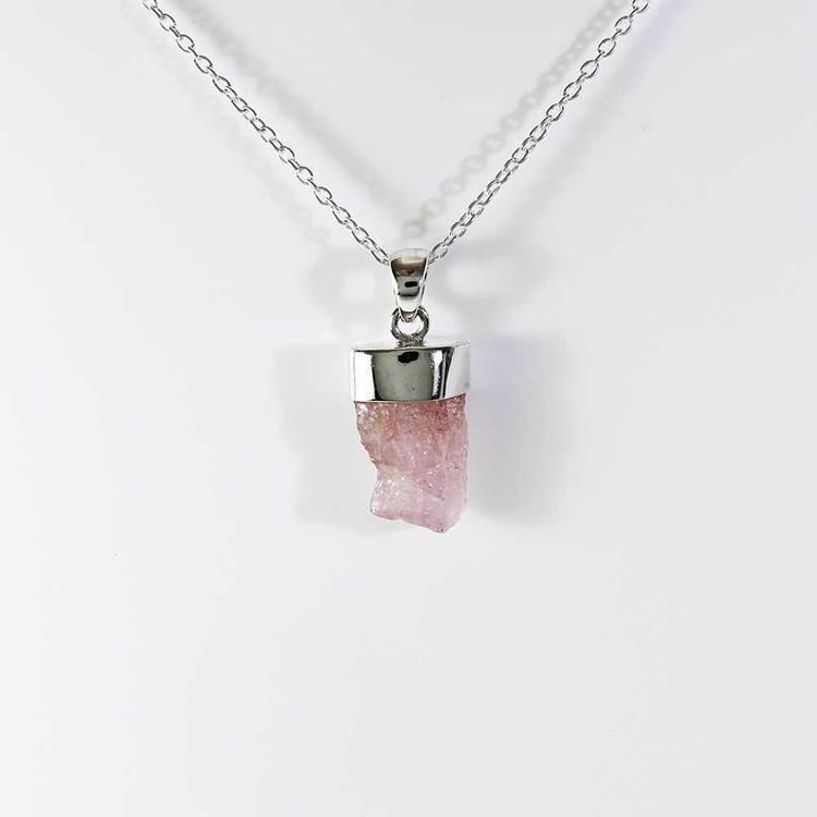 """Halsband med """"Morganite""""-ädelsten - 40+5 cm extension"""