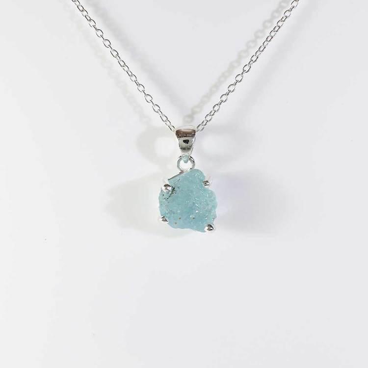 """Halsband med """"Aquamarine""""-ädelsten - 40+5 cm extension"""
