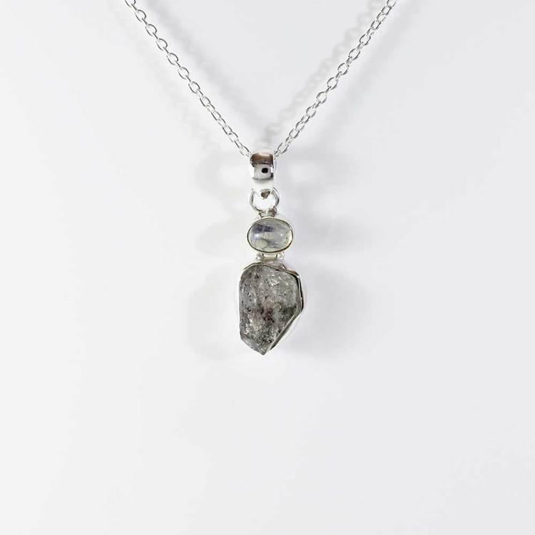 Halsband med Herkimer & Moon stone-stenar - 40+5 cm extension