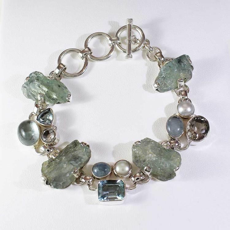 Armband med Aquamarine - Moon Stone - Blue Topaz-stenar - 17+4 cm extension
