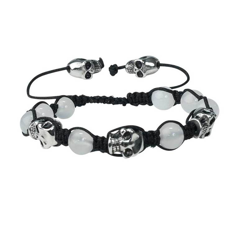 Shamballa-armband med döskallar – Agate/Steel