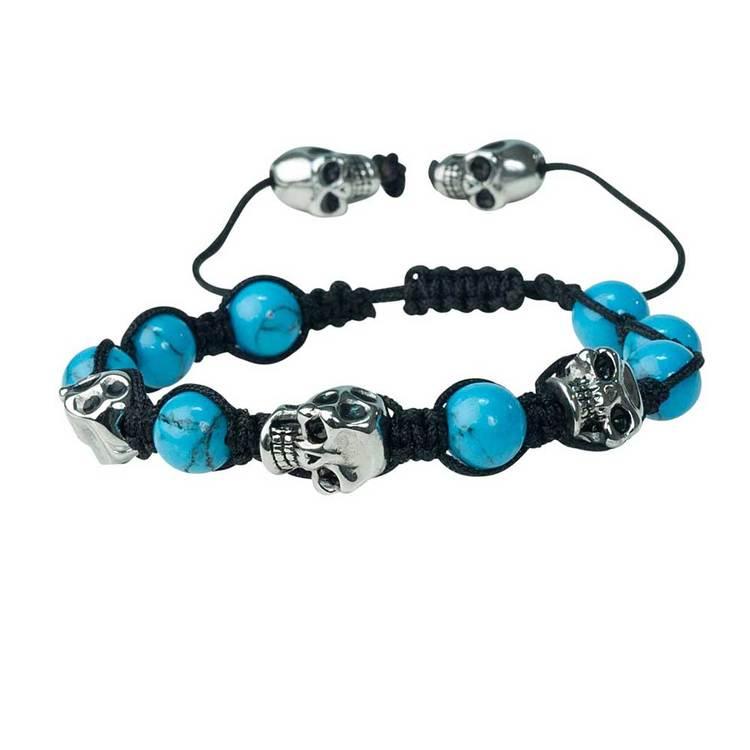 Shamballa-armband med döskallar – Turkos/Steel