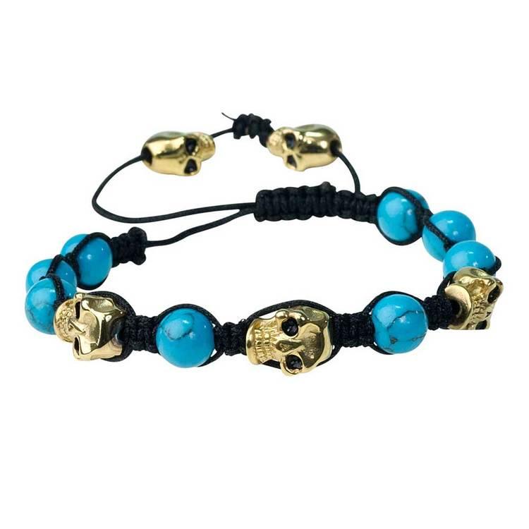 Shamballa-armband med döskallar – Turkos/Guld