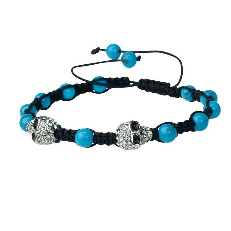 Shamballa-armband med cz-döskallar – Turkos/Steel