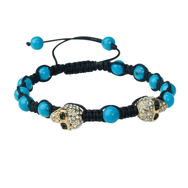 Shamballa-armband med cz-döskallar – Turkos/Guld