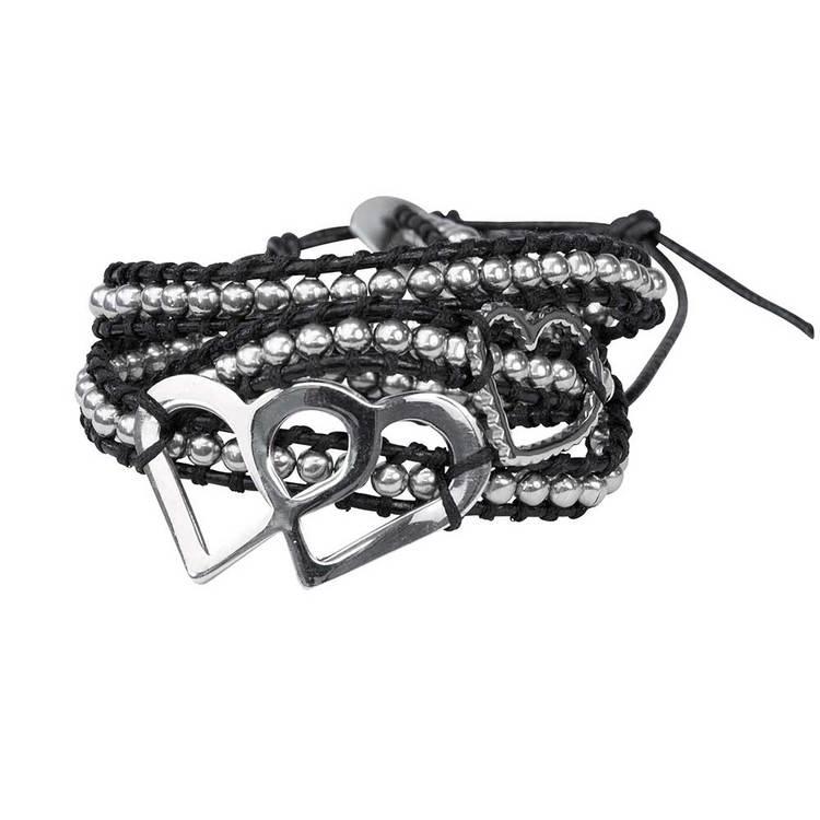 Läderarmband med stålkulor