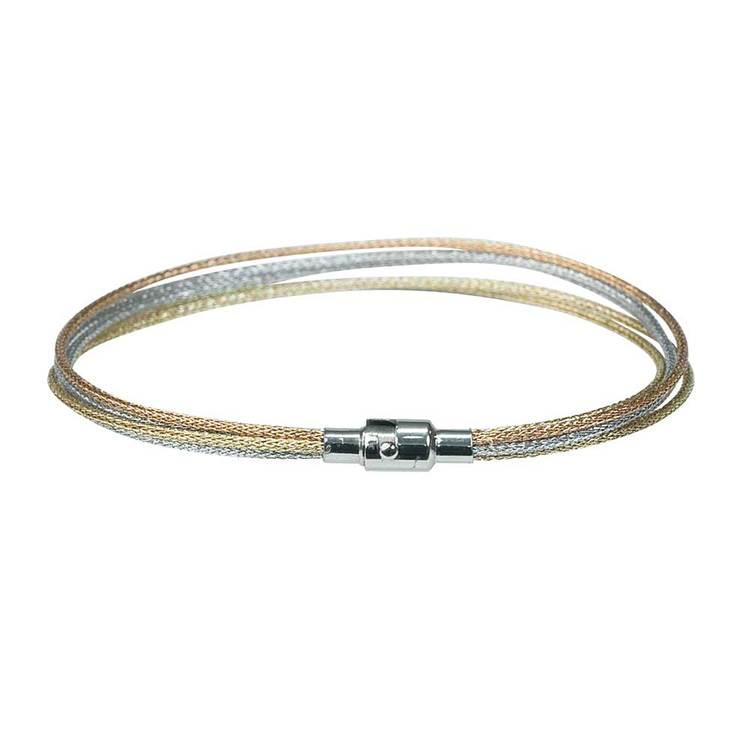 Trefärgat halsband i stål
