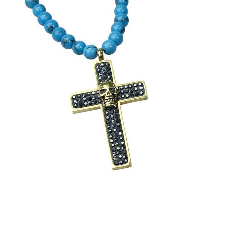 Kors med döskalle i stål - Turkos/Guld