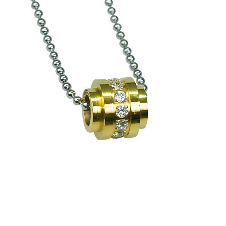 Halsband [STEEL/GOLD] med cz-stenar