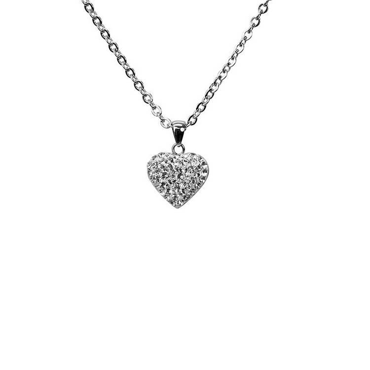 Detta vackra halsband i stål föreställer ett hjärta som är fyllt av gnistrande cz-stenar för henne från catwalksmycken