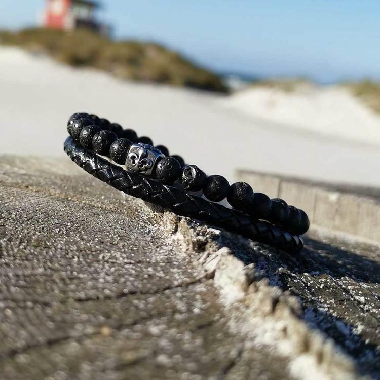 svart läderarmband, present till kille från catwalk jewellery