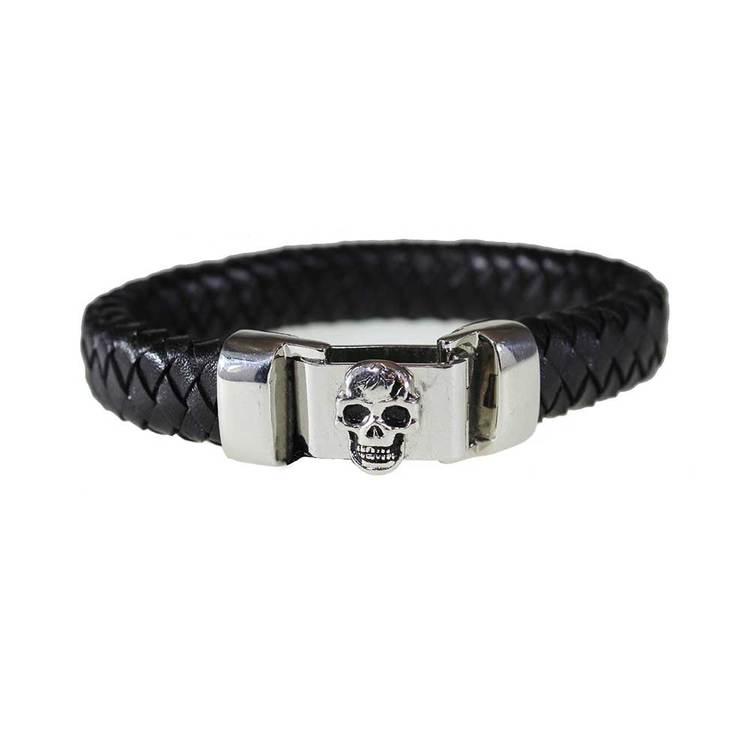 Armband Skull Läder & Stål