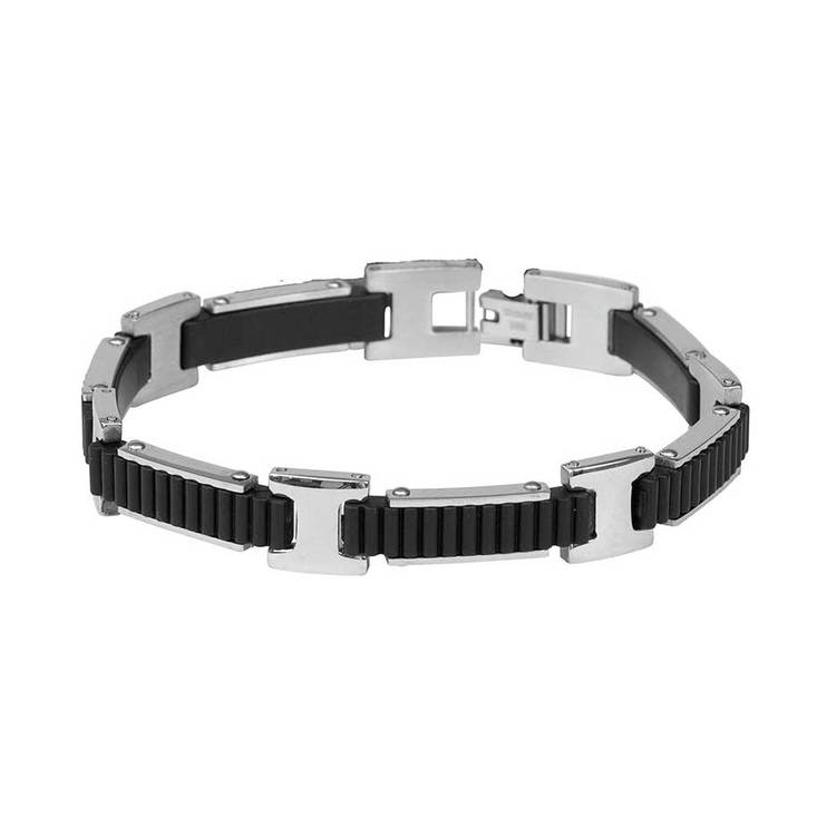 Steel-armband med gummi
