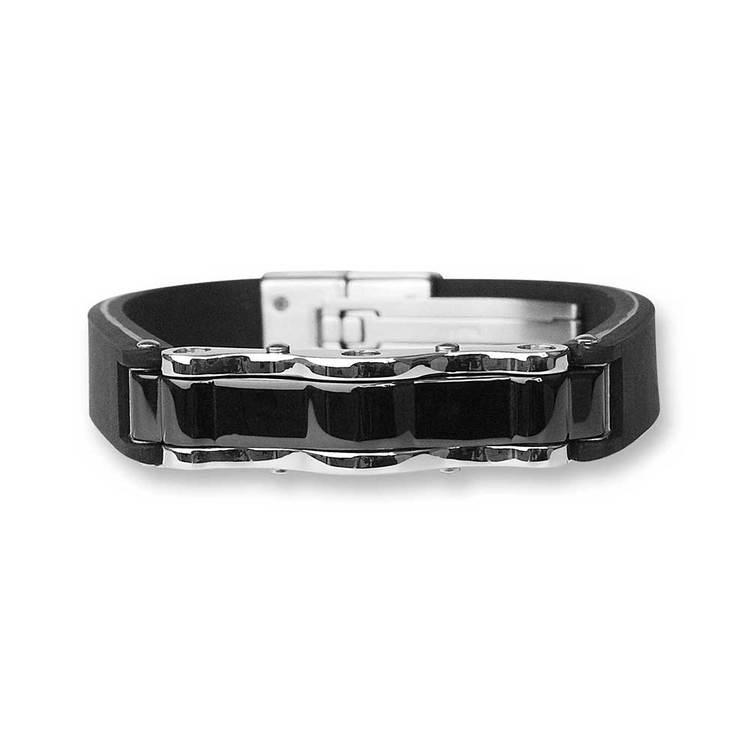 Armband i steel med gummi