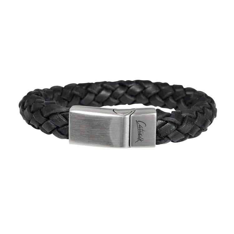 Runt flätat läderarmband i färgen svart med ett praktiskt och enkelt magnet lås i stål. Läderarmband till kille, Herrarmband från catwalksmycken