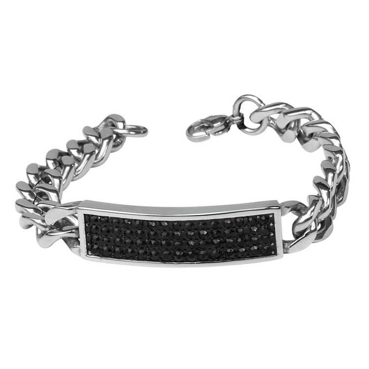 Armband i steel med svarta detaljer