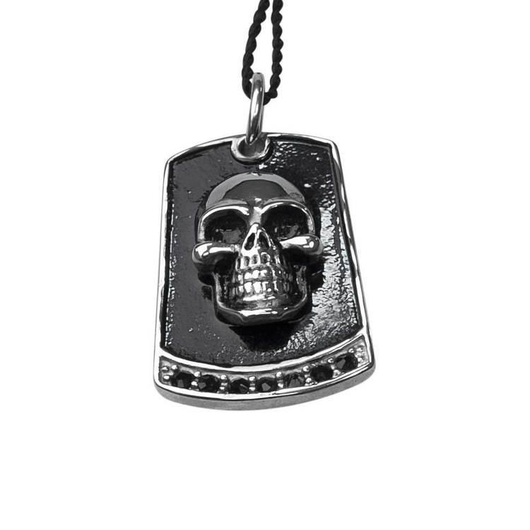 Halsband i steel med döskalle - 50 cm
