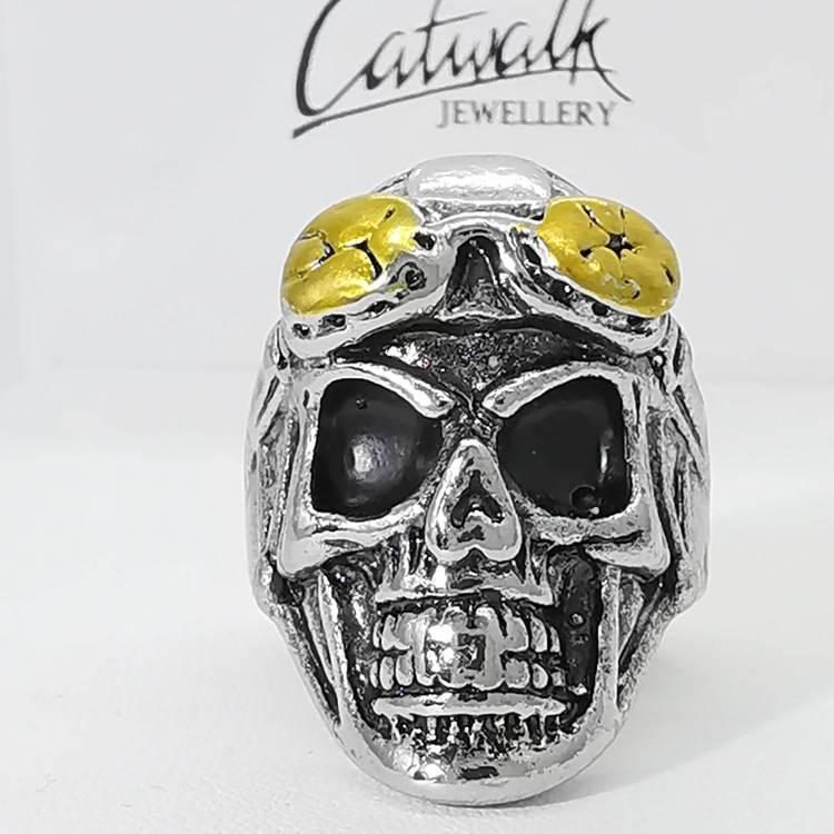"""Ring """"Skull With Bikerglasses"""" Stål"""