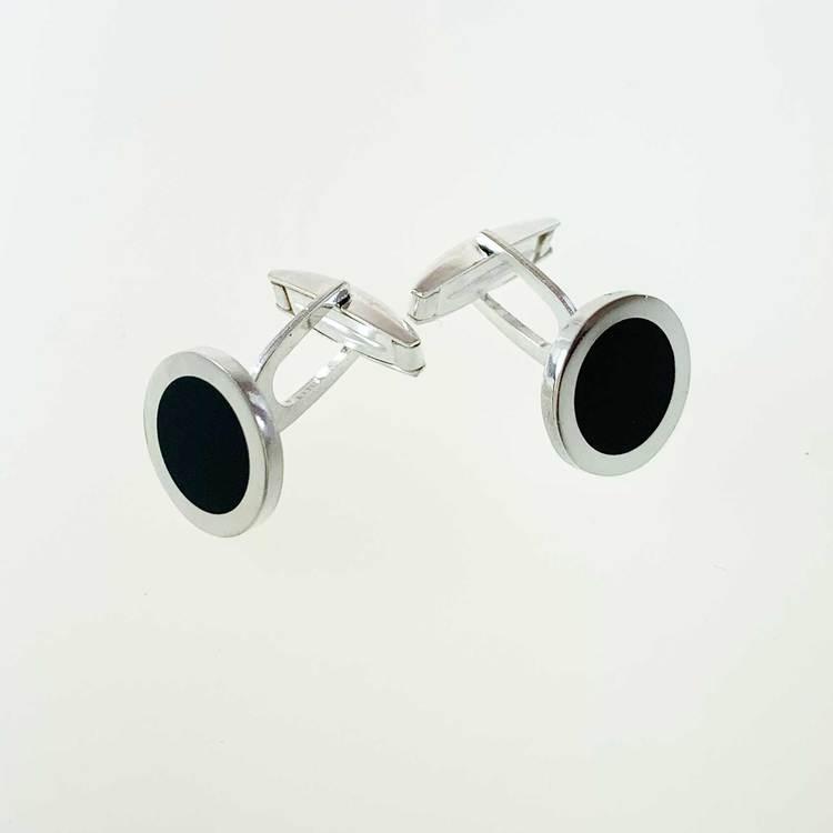 Manschettknappar [BLACK CIRCLE] i 925 silver