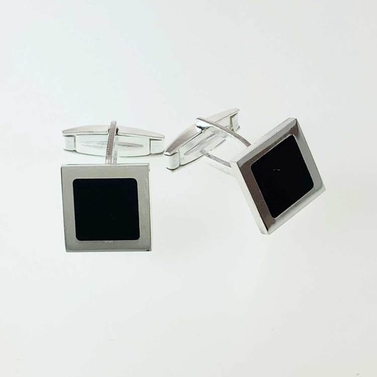 Manschettknappar [BLACK SQUARE] i 925 silver