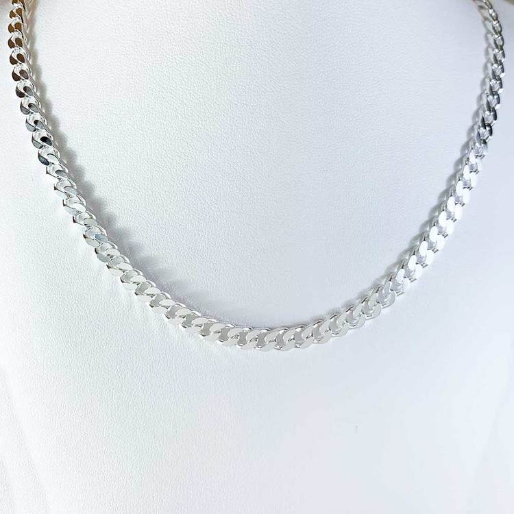 Pansarhalsband - Slipad fyra sidor i 925 silver - 4,8 mm