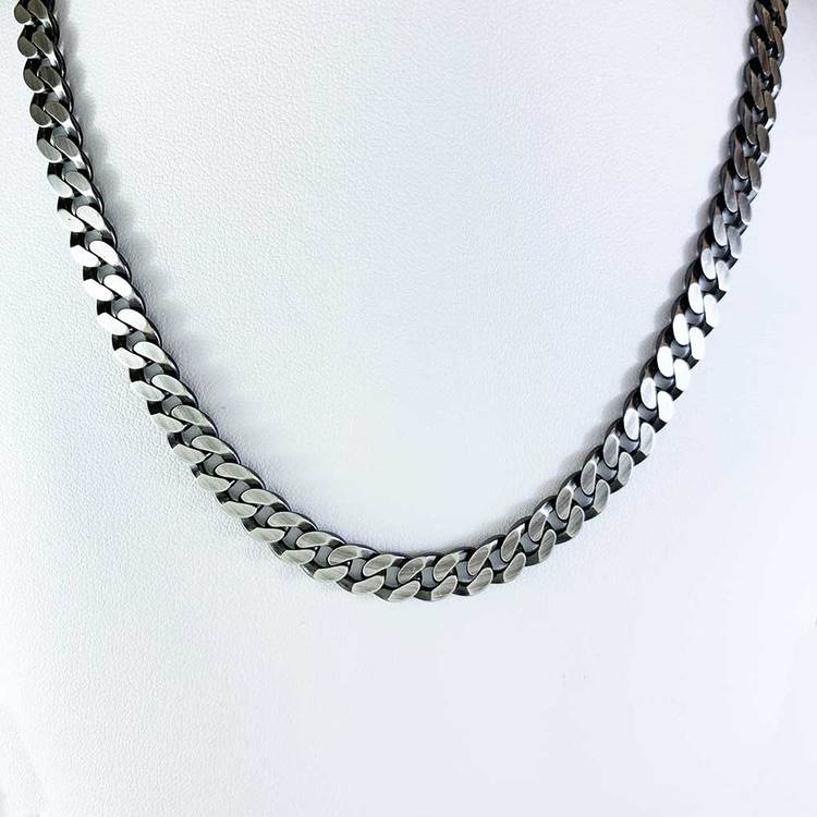 Pansarhalsband i oxiderat 925 silver - 7 mm