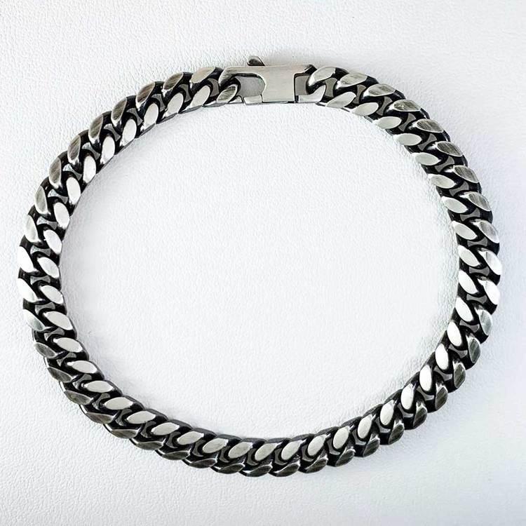 Pansararmband - Ovalslipad Oxiderat 925 silver - 6,4 mm