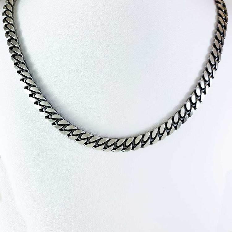 Pansarhalsband - Ovalslipad Oxiderat 925 silver - 6,4 mm