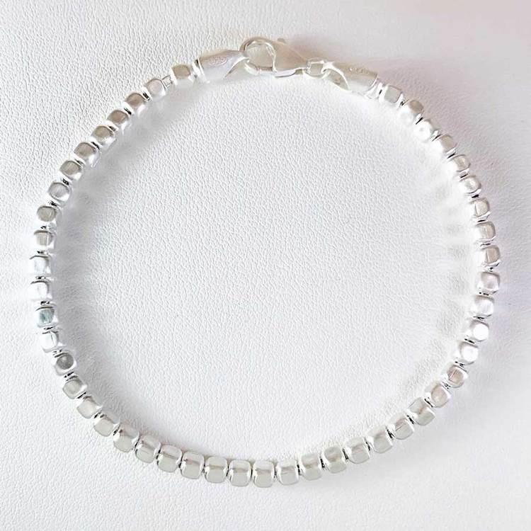 Fyrkantig kulkedja i 925 silver - Armband