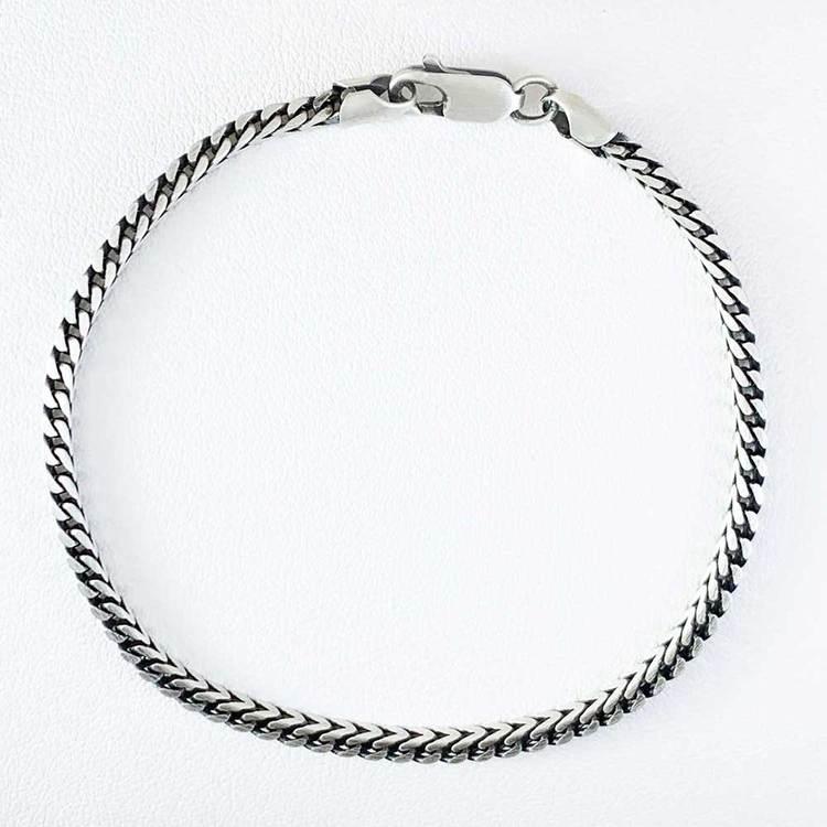 armband och halsband i oxiderat silver för honom från catwalksmycken