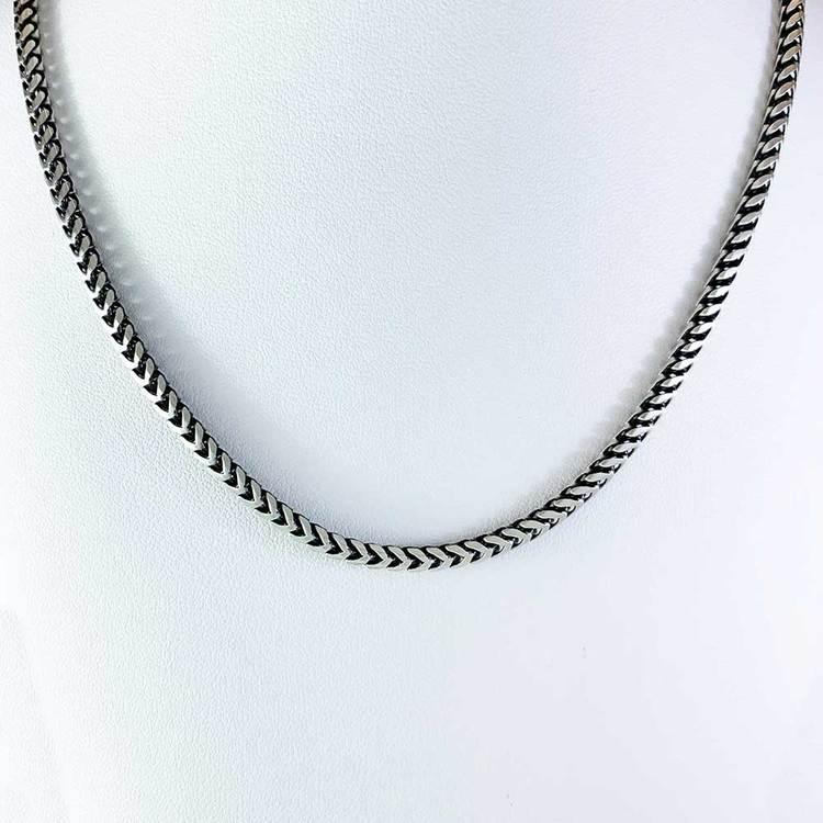 Francolänk slipad åtta sidor i oxiderat 925 silver - Halsband
