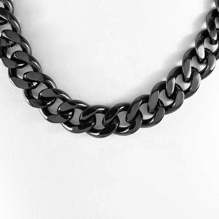 Halsband Pansar Svart Steel - 12 mm