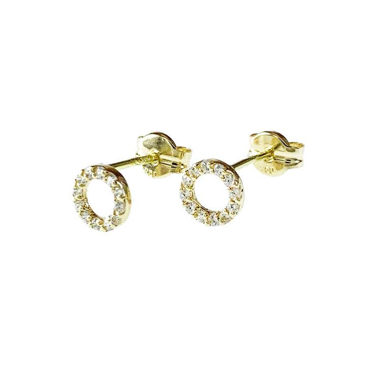 Trendiga fasta örhängen DOUBLE RINGS med cz-stenar 18K guld från Catwalk Jewellery