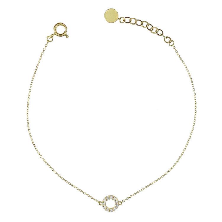 Vackert armband Circle med cz-stenar i 18K guld från Catwalk Jewellery