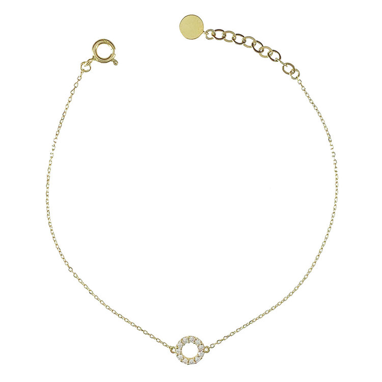 Armband [Circle] med cz-stenar 18K guld