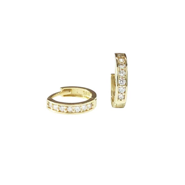 Creoler 18K Guld med cz-stenar - 10,1 x 2,1 mm