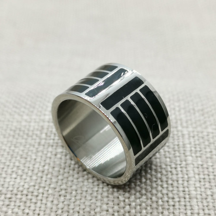 Ring Black & Silver Steel