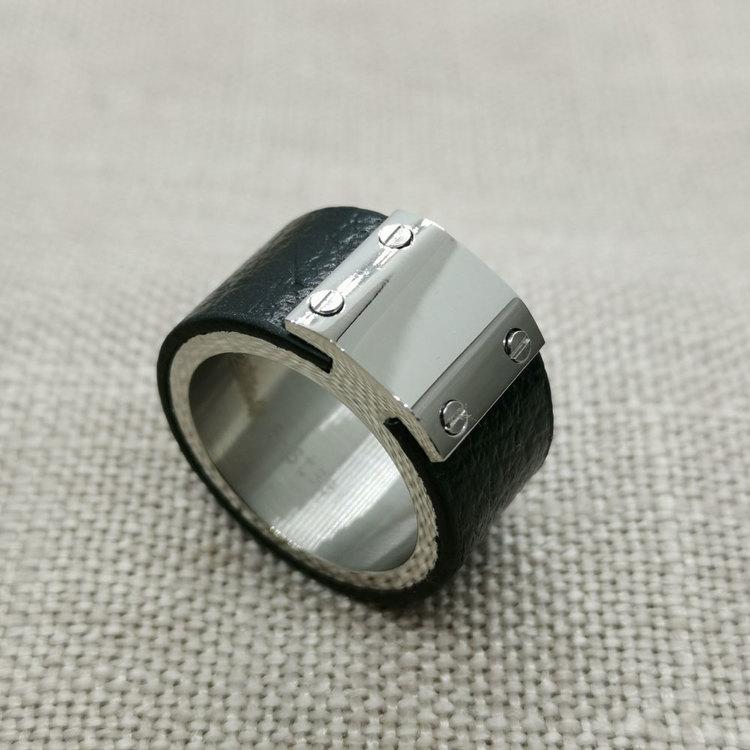 Ring Black Leather & Steel
