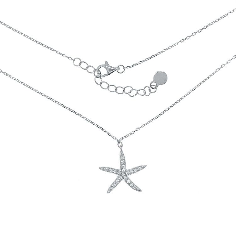 Halsband Sparkling Starfish Silver