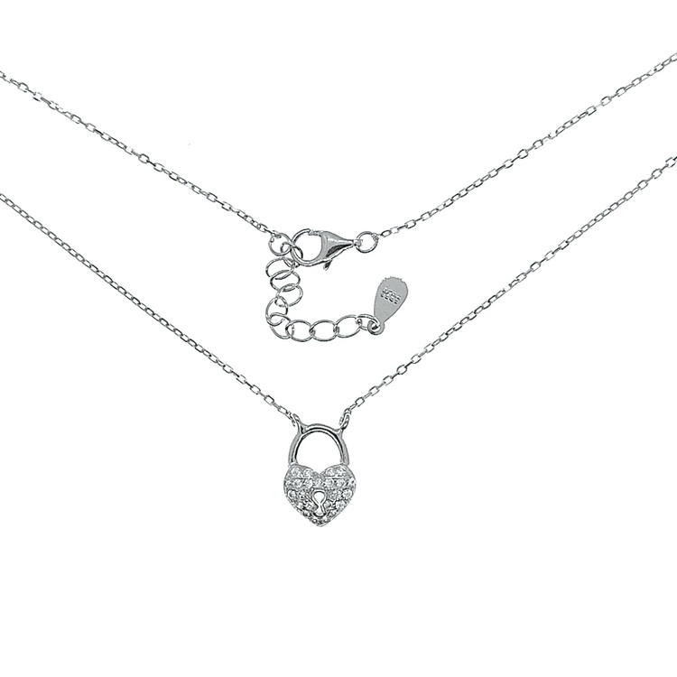 Halsband Sparkling Padlock Silver