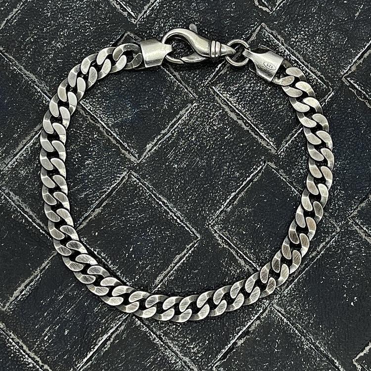 Pansararmband i oxiderat 925 silver - 6 mm