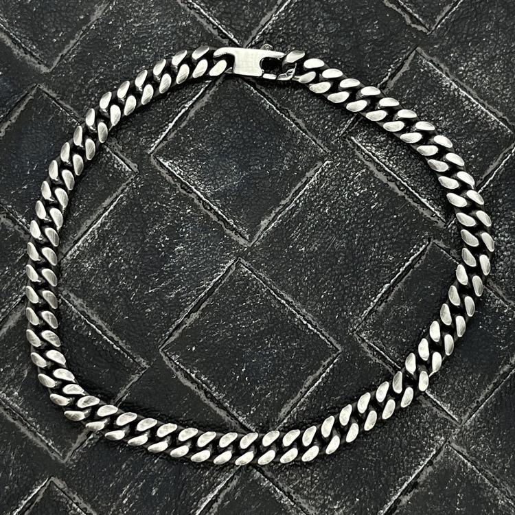 Pansararmband - Ovalslipad Oxiderat 925 silver - 5 mm