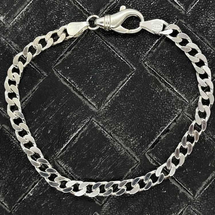 Pansararmband - Slipad fyra sidor i 925 silver - 4,8 mm