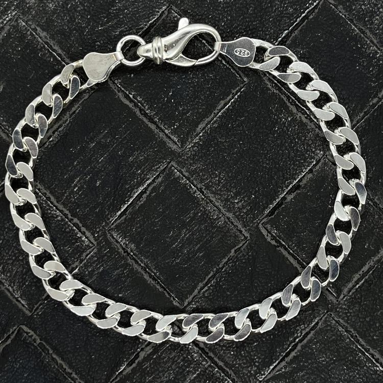 Pansararmband - Slipad fyra sidor i 925 silver - 5,8 mm