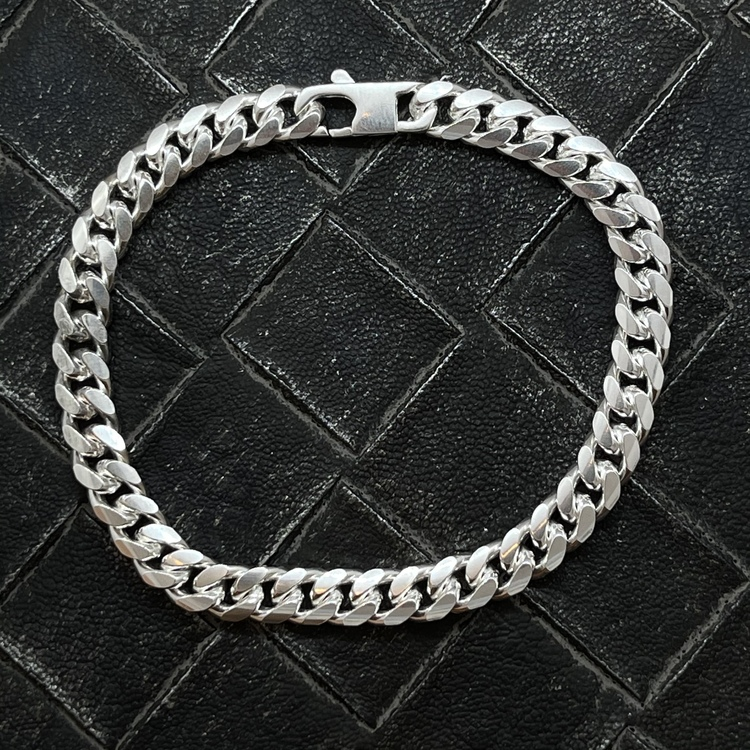 Pansararmband - Ovalslipad 925 silver - 6,4 mm