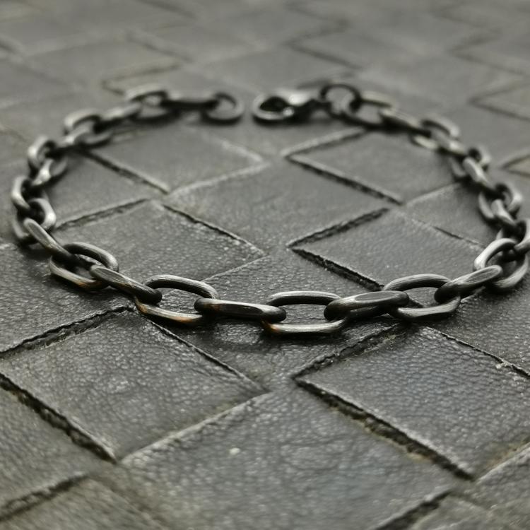 snygg ankar armband i oxiderat stål herr från catwalksmycken