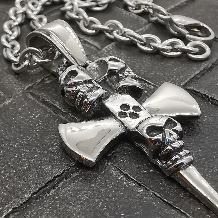 Halsband Skull Axe Stål