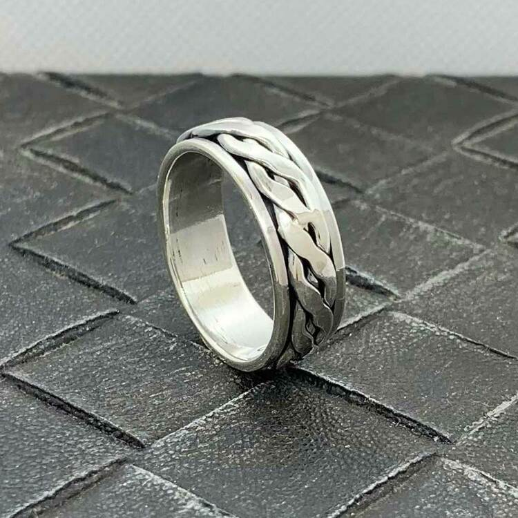 Spinning Ring Braided Silver